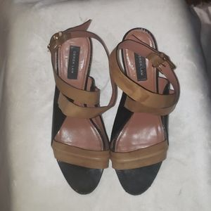 Derek Lam Leather Snakeskin Cone Heel Sandals